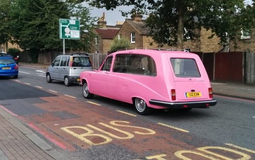 Photo of a pink hearse